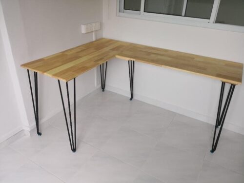 LEIGHTON L-Shape Solid Wood Table photo review