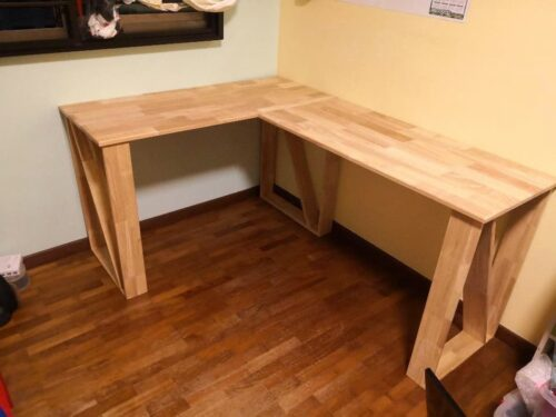 LUX L-Shape Solid Wood Table photo review
